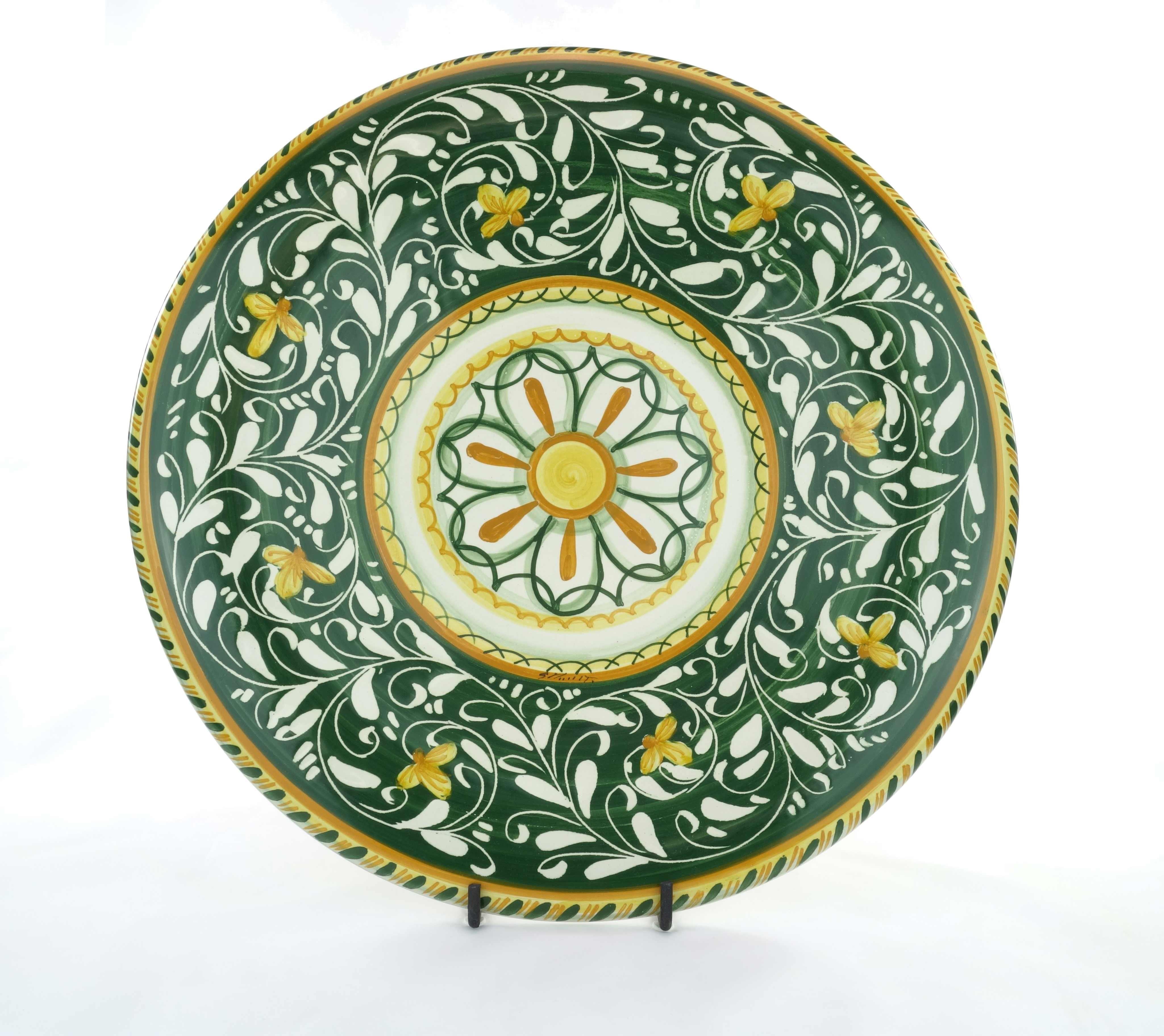 Piatto in ceramica di Castelli decoro Ornato Verde- 46cm - Del Melo ...