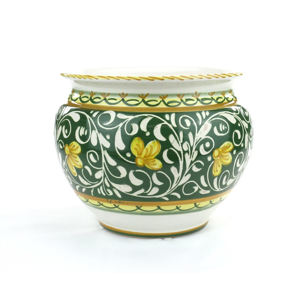 Portavaso in Ceramica di Castelli decoro ornato verde cm 18 - Del ...