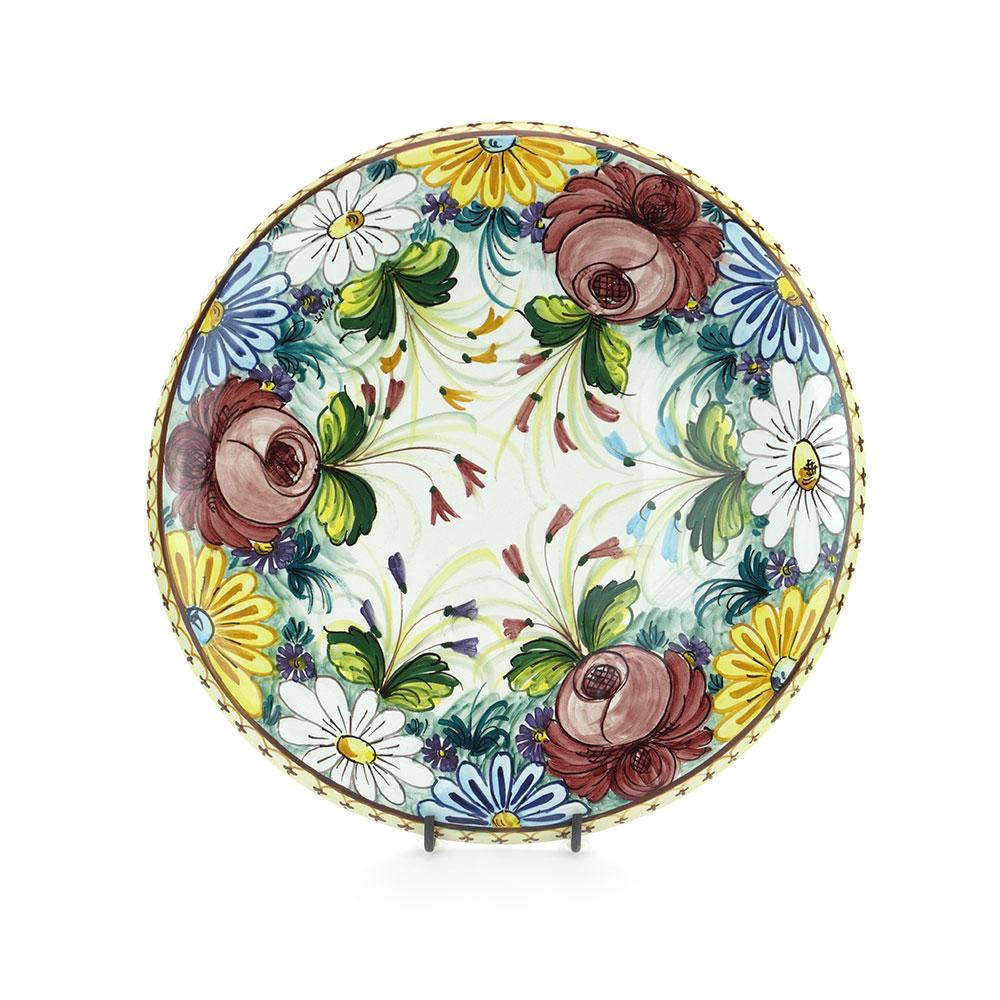 Piatto da parete in Ceramica di Castelli decoro Fioraccio cm 38 ...