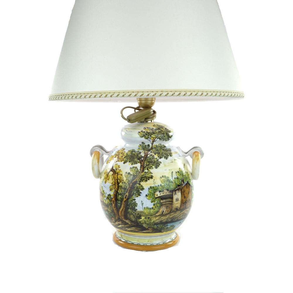 Lampada in ceramica di Castelli decoro Paesaggio - Del Melo Ceramiche