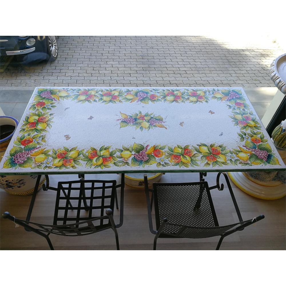 Tavoli Da Giardino Ceramica Deruta.Tavolo In Ceramica Di Deruta Decoro Frutta