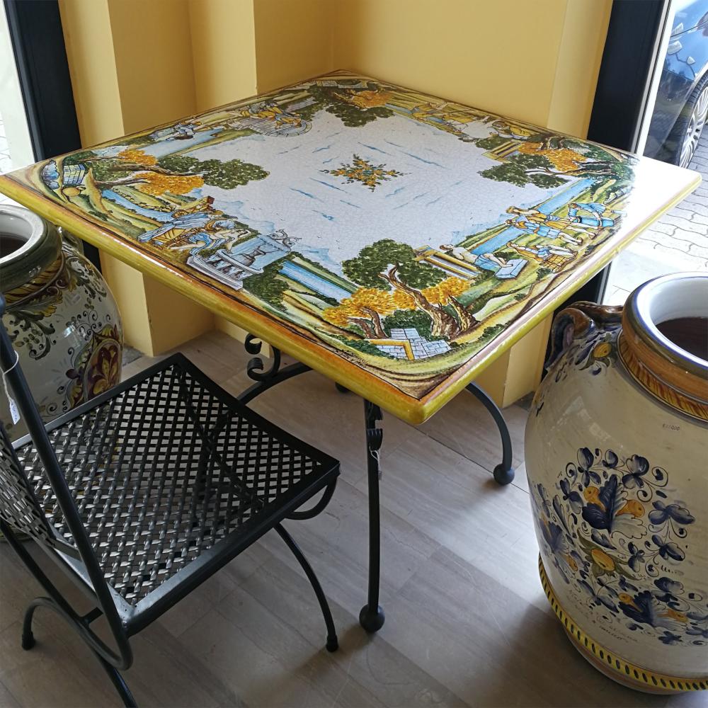 Tavoli In Maiolica Da Giardino.Tavolo In Ceramica Di Deruta Decoro Castelli Del Melo Ceramiche
