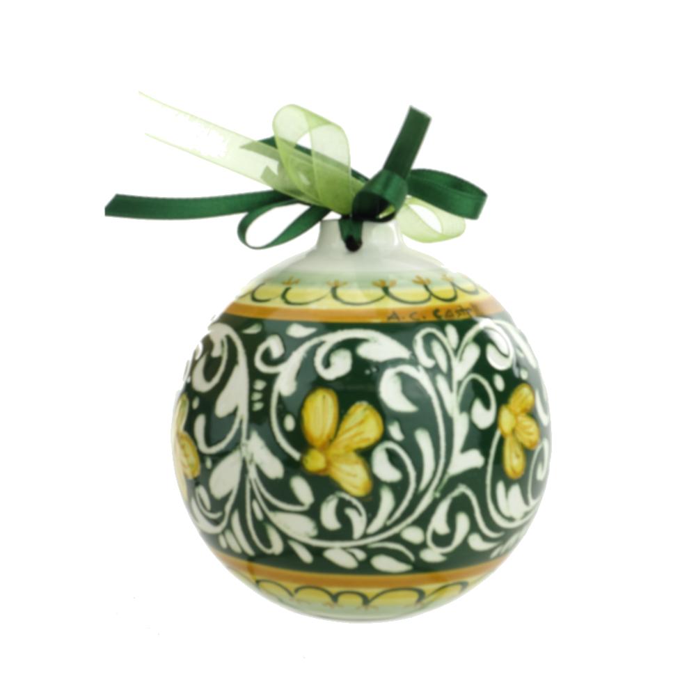 Palline Di Natale.Pallina Di Natale In Ceramica Di Castelli Dec Ornato Verde 10cm Del Melo Ceramiche